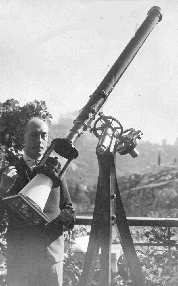 S. Plakides observing the Sun with the Secrétan refractor (c.1930)